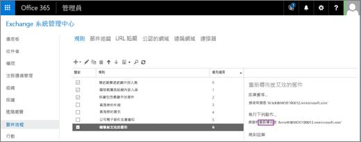 螢幕擷取畫面顯示 Exchange 系統管理中心中 [郵件流程] 區域的 [規則] 頁面。使用者 Allie Bellew 的郵件重新導向規則已選取 [開啟] 核取方塊。