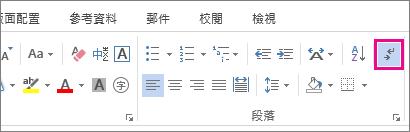 Word 2013 中 [常用] 索引標籤上的 [顯示/隱藏] 命令。