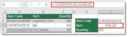 col_index_argument 小於 1 時所顯示的 #VALUE! 錯誤