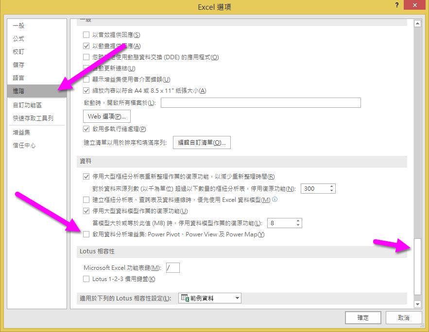 [Excel 選項] 視窗