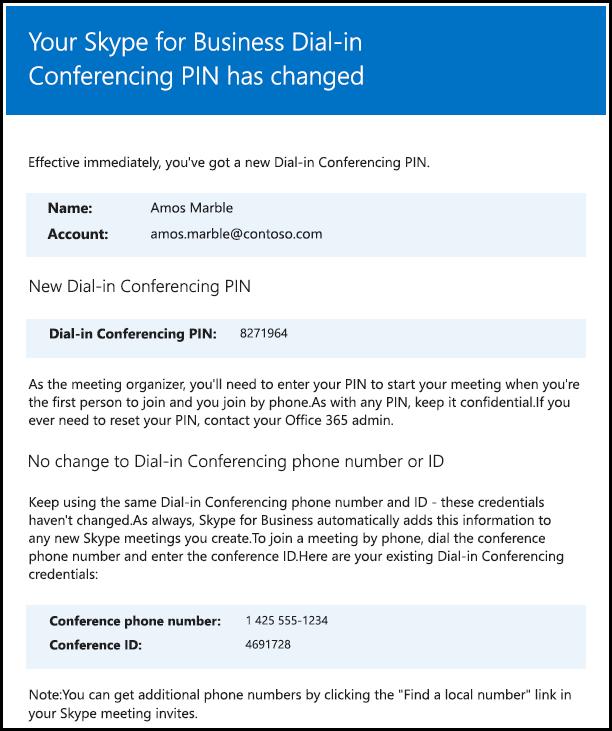 電話撥入式會議 PIN 已經變更。
