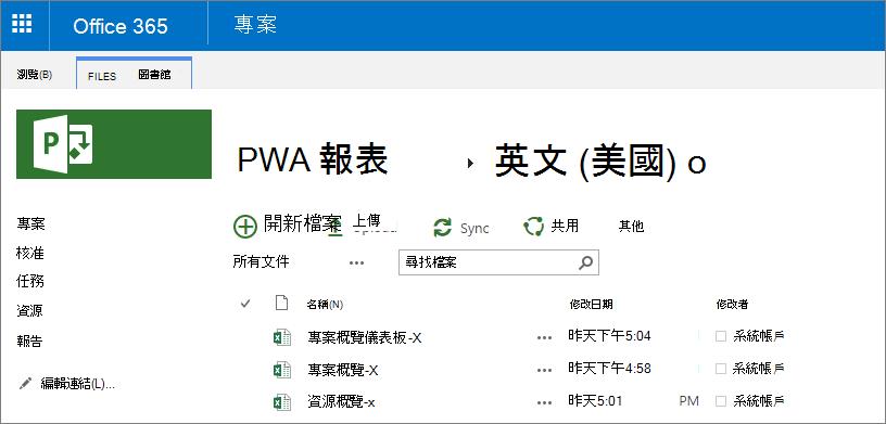 在 [PWA 報表] 頁面中, 選擇您的語言。