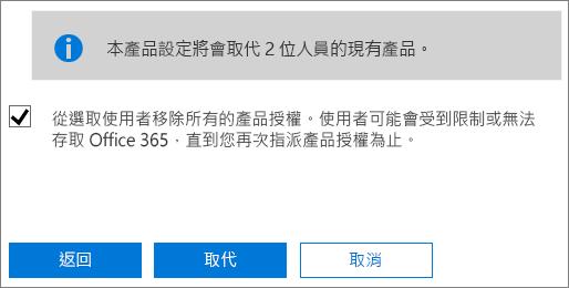 選取核取方塊以移除所選使用者帳戶的所有授權。