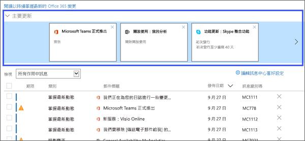 螢幕擷取畫面: 顯示主要更新包含管理中心的區段。