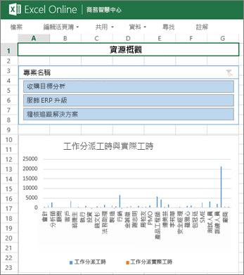 [資源概觀] 活頁簿提供專案的資源資訊