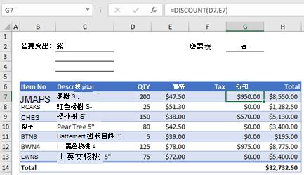 含自訂函數的 [範例訂單] 表單