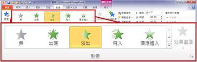 PowerPoint 2010 功能區中的 [動畫] 索引標籤