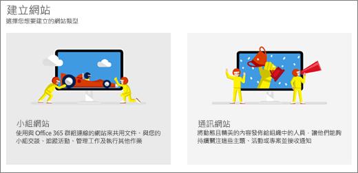 您可選擇兩個頂層範本、小組或通訊網站。