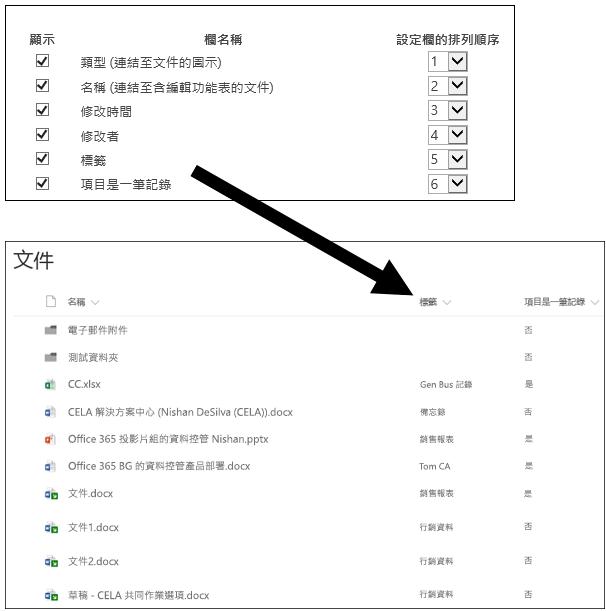 自訂檢視中所顯示標籤的文件庫欄