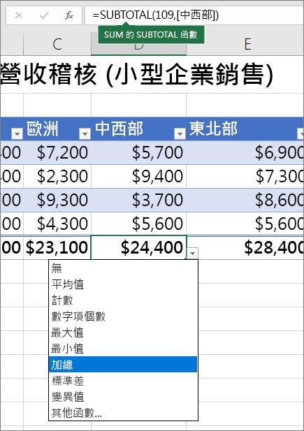 從 [合計] 列公式] 下拉式清單中選取合計列公式的範例
