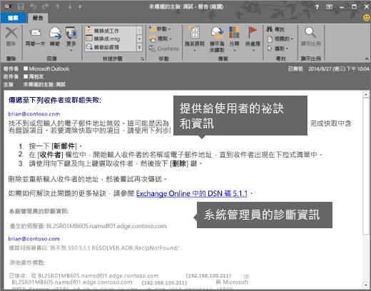 NDR 顯示使用者和系統管理員的診斷資訊