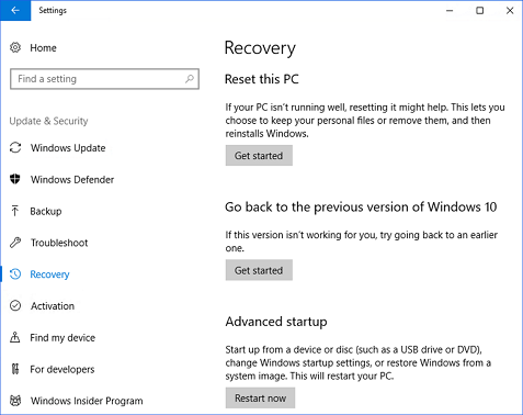 Windows 10 Recovery Go back to the previous version