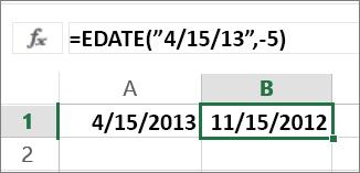 在日期中減去月數