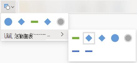 選取 [變更圖形] 按鈕會開啟一個選項庫,以取代選取的圖形。