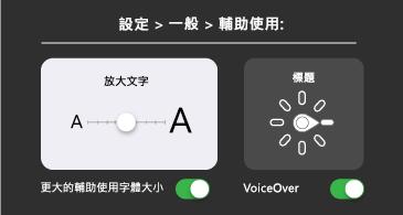 一般協助工具:較大的文字和 VoiceOver 設定