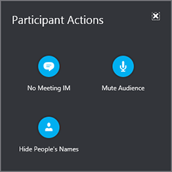 選取 [參與者動作] 將每個人靜音、隱藏人員的名稱或關閉 IM 視窗。