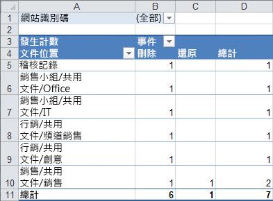 在樞紐分析表中的 [稽核資料的摘要