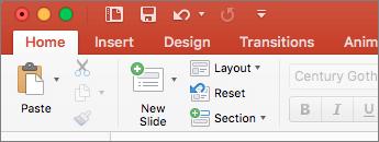 [常用] 索引標籤的 [投影片] 群組中的 [重設] 命令之螢幕擷取畫面