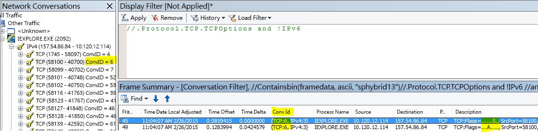 依交談篩選。以滑鼠右鍵按一下 SYN 框架,然後按一下 [Find Conversations]、[TCP]。