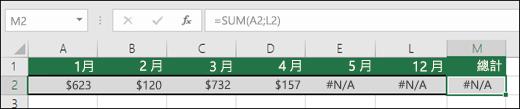 在儲存格中輸入 #N/A 會造成 SUM 公式無法正確進行計算的範例。