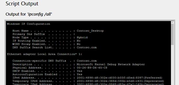 無線網路報告中顯示的指令碼輸出資訊