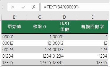 """使用 TEXT 格式化前置字元 0 的範例。=TEXT(A2,""""00000"""")"""