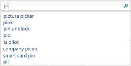 搜尋方塊顯示與使用者所輸入文字類似的文字