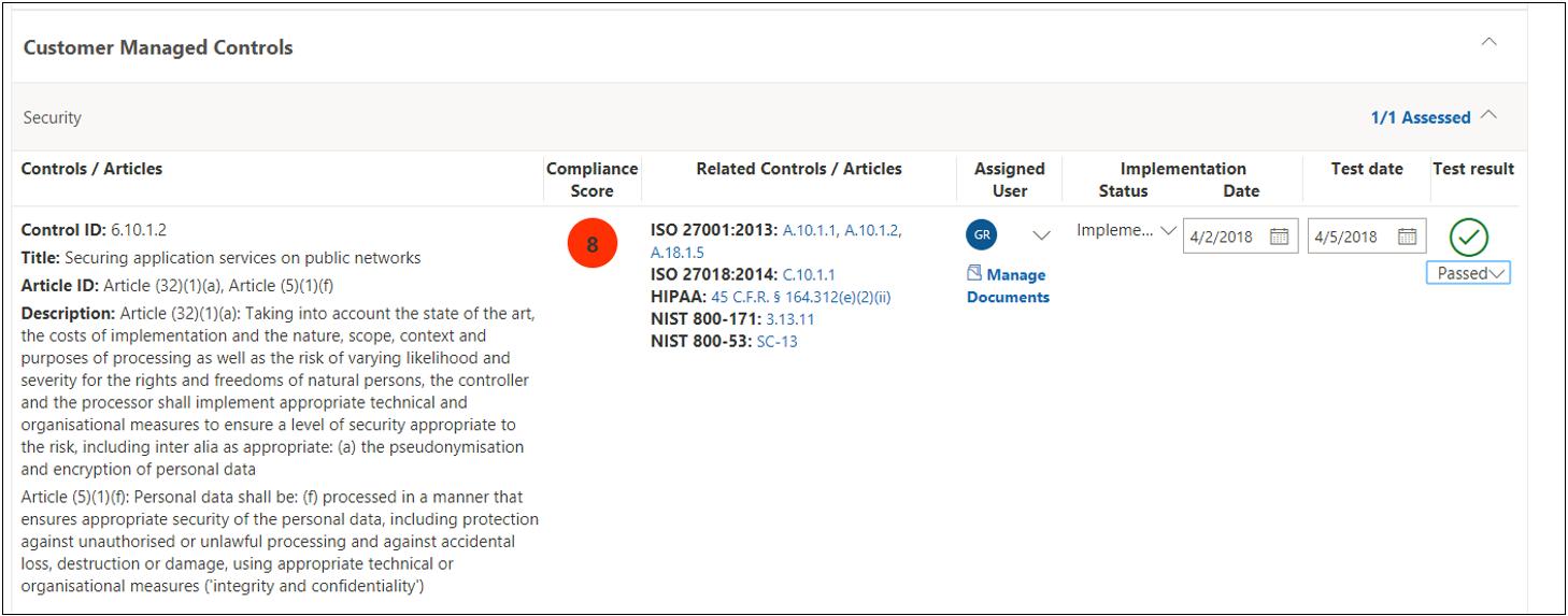 合規性管理員評定控制措施 GDPR 6.10.1.2 - 通過