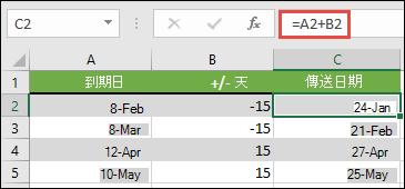 使用 =A2+B2 的日期加上或減去天數,其中 A2 是日期,而 B2 是要加減的天數。