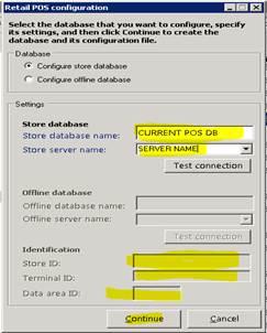 Retail POS configuration dialog box