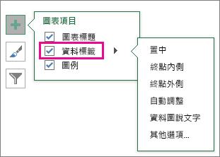 [圖表項目] > [資料標籤] > 標籤選擇