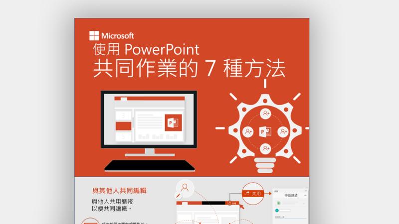 顯示 PowerPoint 中 7 種共同作業方法的資訊圖表