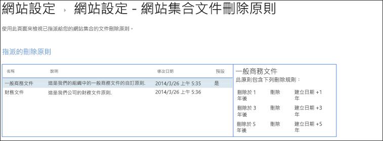 指派給網站集合的文件刪除原則檢視