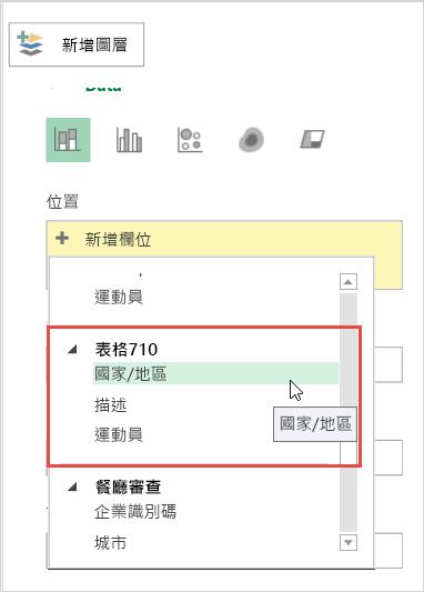 [圖層] 窗格上的 [新增位置]
