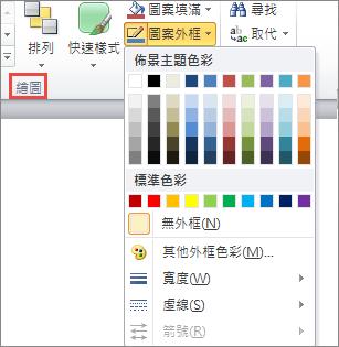 PowerPoint 2010 文字方塊 [圖案外框] 功能表