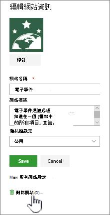 SharePoint 小組網站刪除網站位置