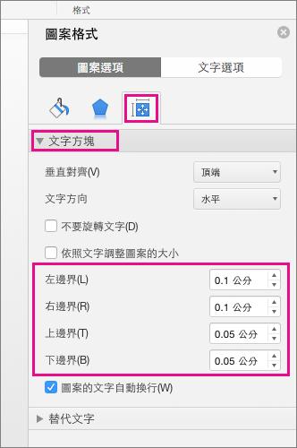 [格式化圖案] 窗格上醒目提示 [文字方塊] 選項。