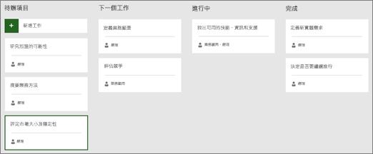 螢幕擷取畫面顯示積存下, 一步,在進行中,並完成資料行的 Sprint 區