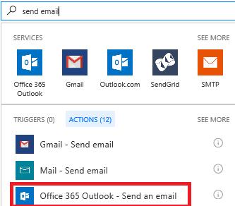 螢幕擷取畫面: 選取動作: Office 365 Outlook 傳送電子郵件