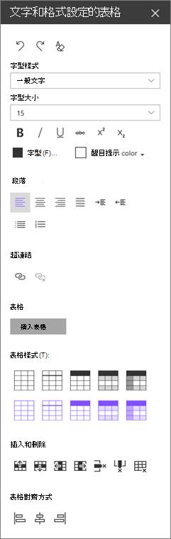 文字網頁組件格式設定] 窗格