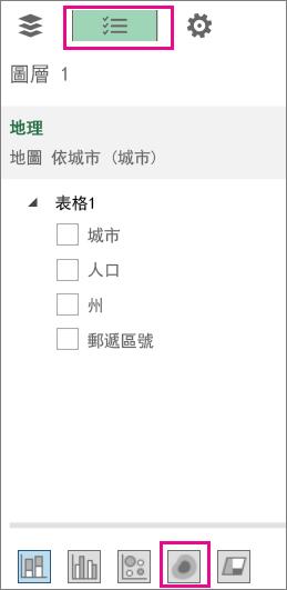 [欄位清單] 索引標籤上的 [熱地圖] 圖示