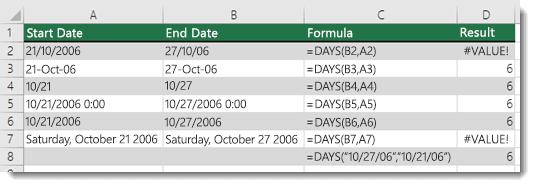 不同 DAYS 函數的輸出結果