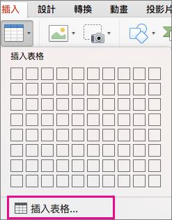 [插入表格] 功能表選項