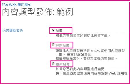 在中樞網站的「內容類型發佈」頁面上,您可以發佈、解除發佈或重新發佈內容類型。