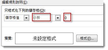 編輯設定格式化的條件規則方塊