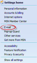 Email option in settings drop down