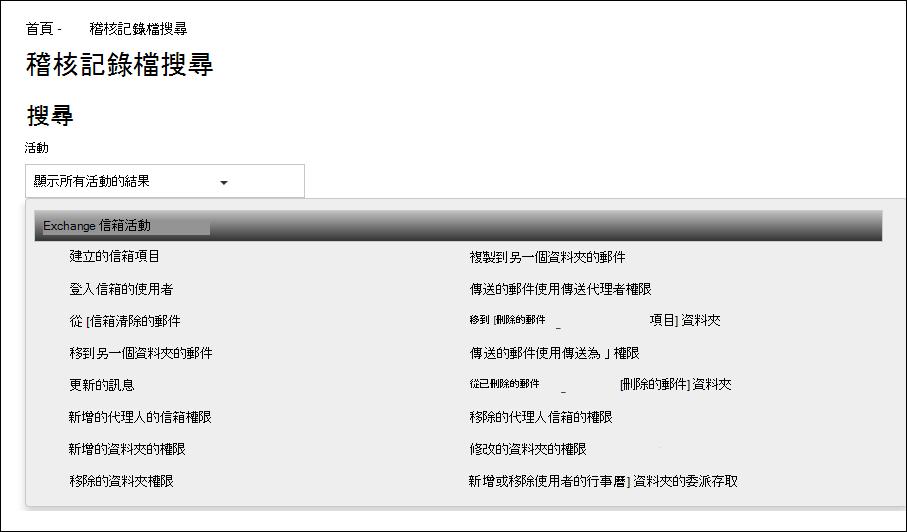 您可以透過選取 [活動] 下拉式清單中的 [Exchange 信箱活動],來搜尋 Office 365 稽核記錄檔中的信箱稽核動作。