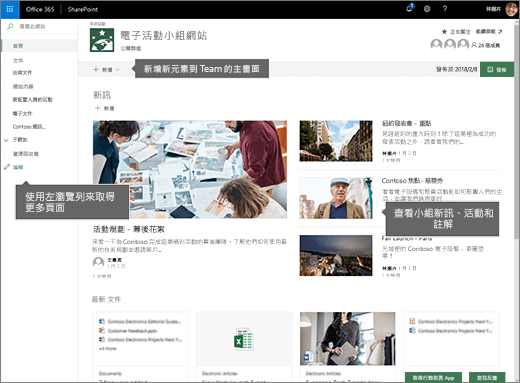 SharePoint Online 小組網站首頁