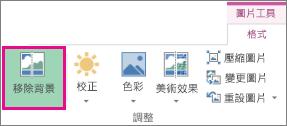 在 [圖片工具] 的 [格式] 索引標籤上,找到 [調整] 群組中的 [移除背景] 按鈕。
