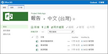 您將會在您的 Project Online 網站上的報表庫中看到範例報表